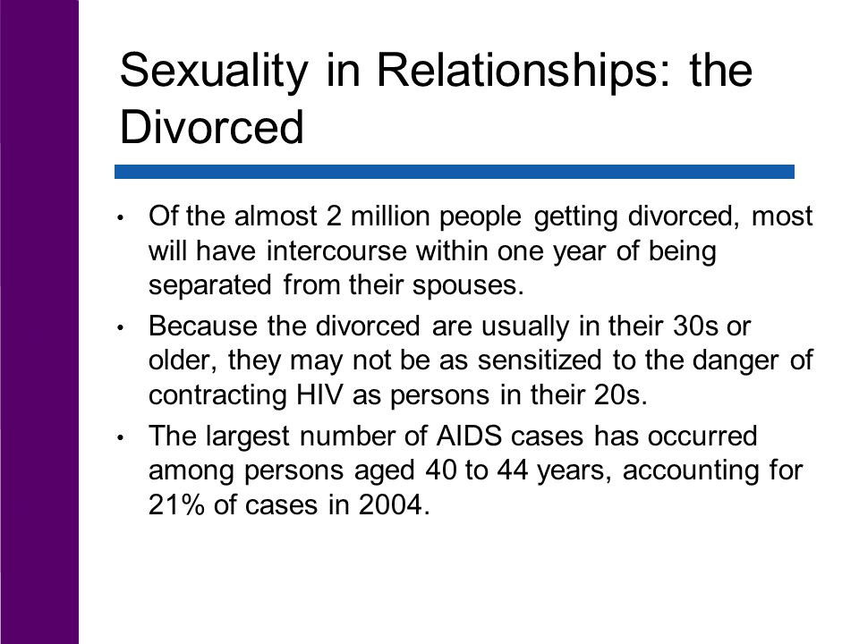 Sexuality in Relationships: the Divorced Of the almost 2 million people getting divorced, most will have intercourse within one year of being separated from their spouses.