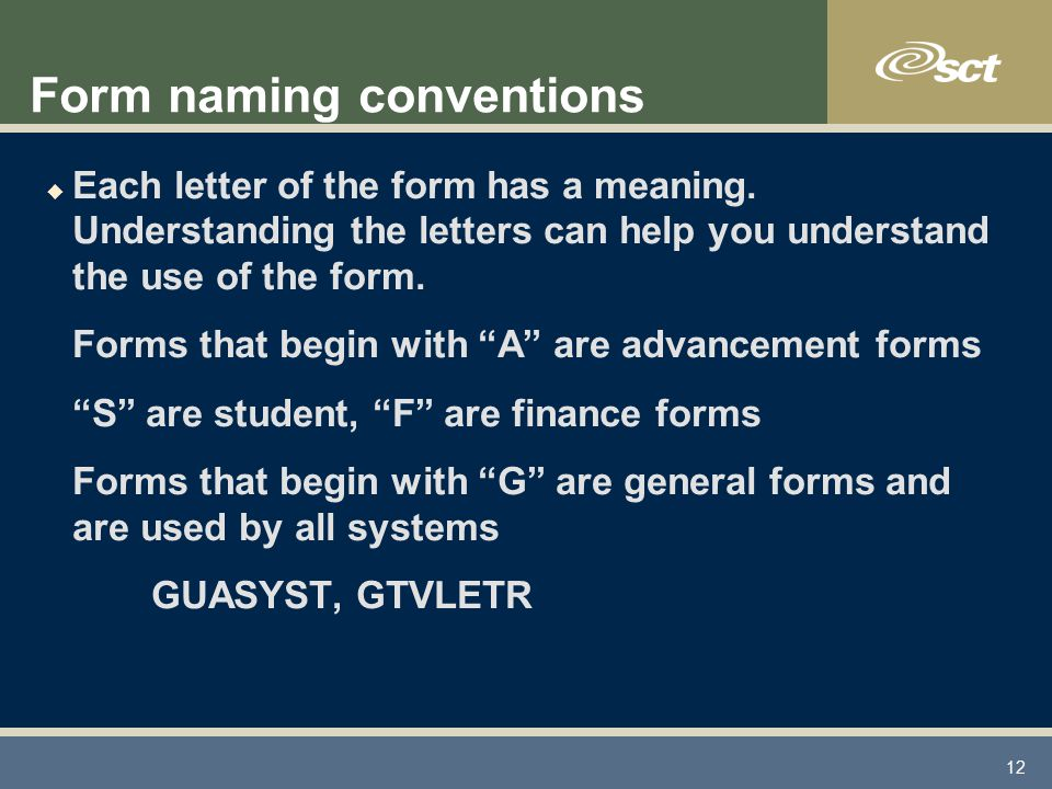 12 Form naming conventions u Each letter of the form has a meaning.