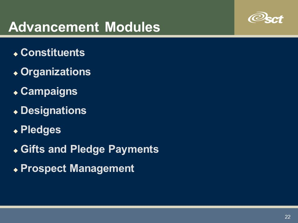 22 Advancement Modules u Constituents u Organizations u Campaigns u Designations u Pledges u Gifts and Pledge Payments u Prospect Management