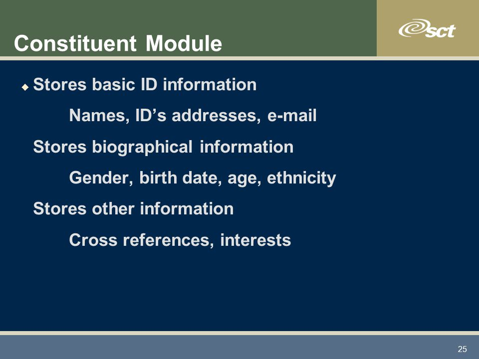25 Constituent Module u Stores basic ID information Names, ID's addresses, e-mail Stores biographical information Gender, birth date, age, ethnicity Stores other information Cross references, interests