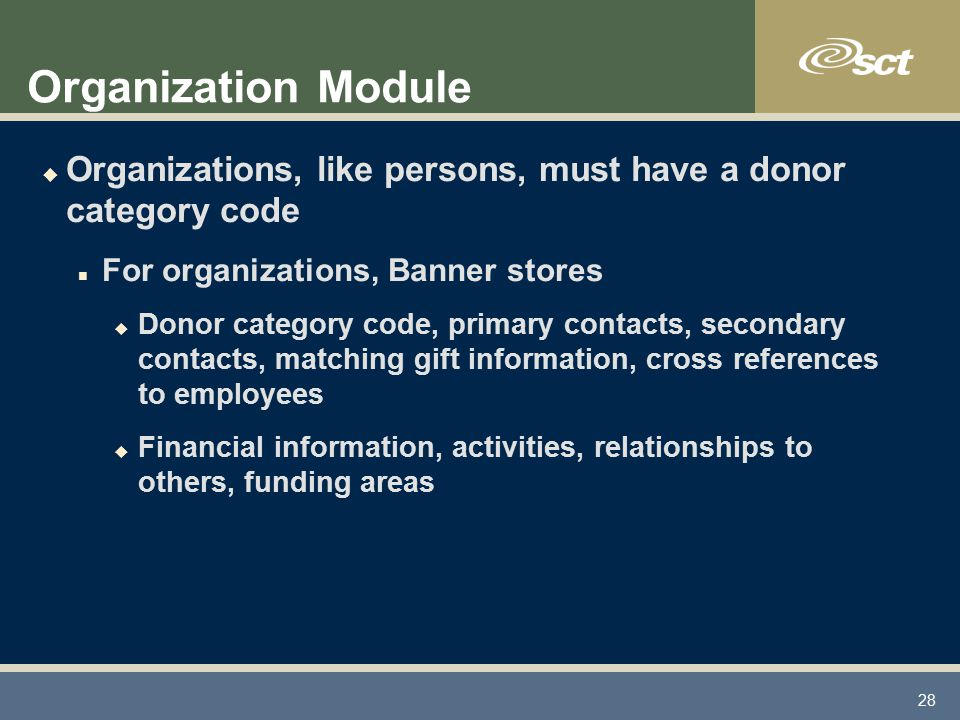 28 Organization Module u Organizations, like persons, must have a donor category code n For organizations, Banner stores u Donor category code, primary contacts, secondary contacts, matching gift information, cross references to employees u Financial information, activities, relationships to others, funding areas