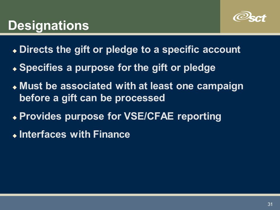 31 Designations u Directs the gift or pledge to a specific account u Specifies a purpose for the gift or pledge u Must be associated with at least one campaign before a gift can be processed u Provides purpose for VSE/CFAE reporting u Interfaces with Finance