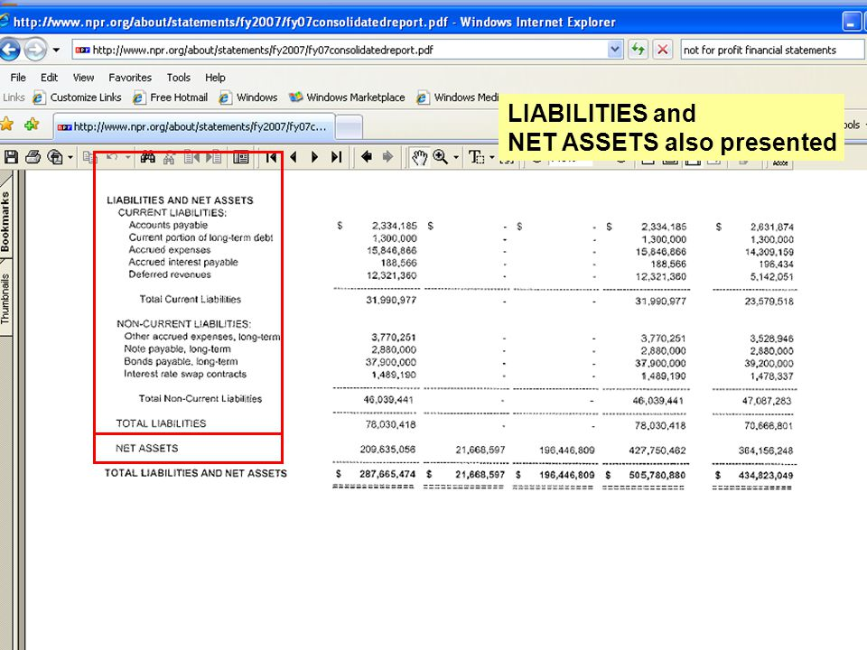 LIABILITIES and NET ASSETS also presented