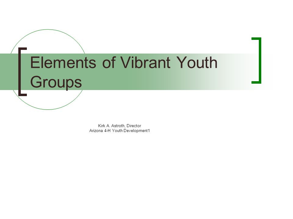 Kirk A. Astroth, Director Arizona 4-H Youth Development1 Elements of Vibrant Youth Groups