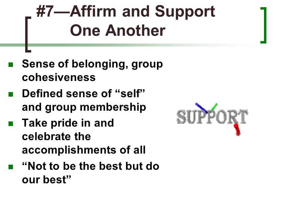 "#7—Affirm and Support One Another Sense of belonging, group cohesiveness Defined sense of ""self"" and group membership Take pride in and celebrate the"