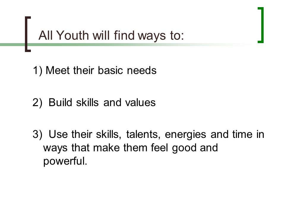 All Youth will find ways to: 1) Meet their basic needs 2) Build skills and values 3) Use their skills, talents, energies and time in ways that make th