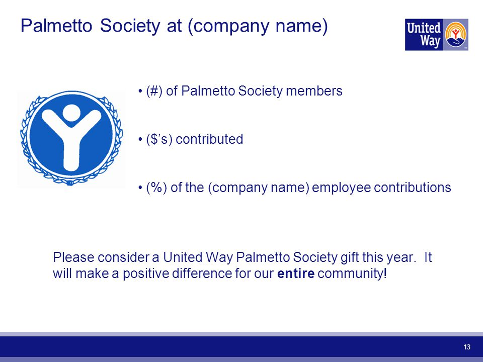 13 Palmetto Society at (company name) (#) of Palmetto Society members ($'s) contributed (%) of the (company name) employee contributions Please consider a United Way Palmetto Society gift this year.