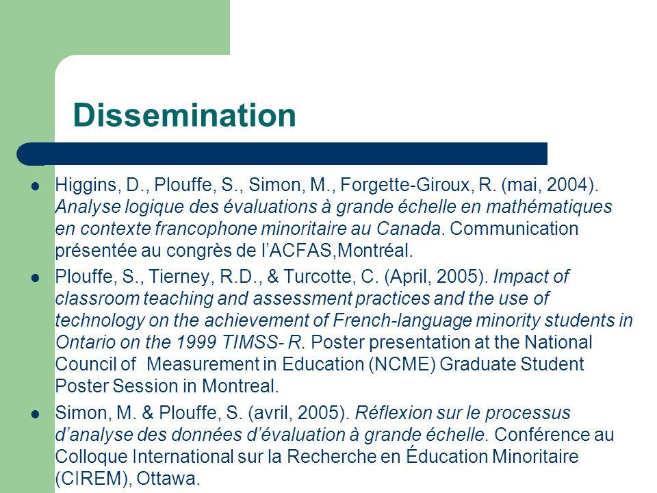 Dissemination Higgins, D., Plouffe, S., Simon, M., Forgette-Giroux, R.