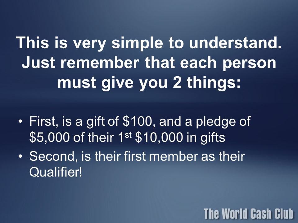 This is very simple to understand. Just remember that each person must give you 2 things: First, is a gift of $100, and a pledge of $5,000 of their 1