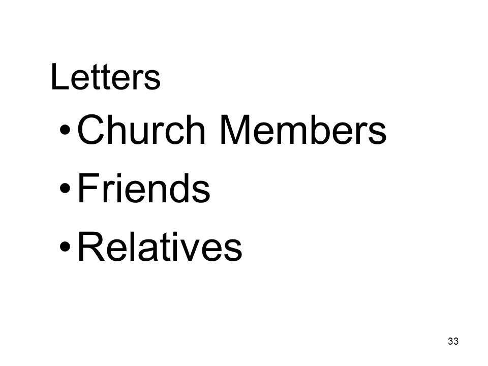 33 Letters Church Members Friends Relatives