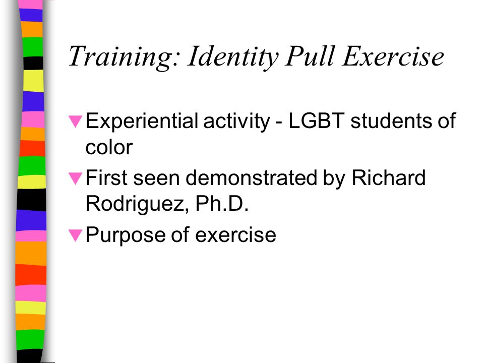 Training: Identity Pull Exercise  Experiential activity - LGBT students of color  First seen demonstrated by Richard Rodriguez, Ph.D.