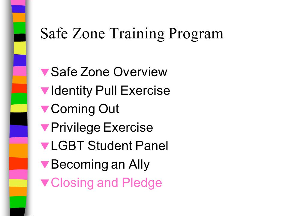 Safe Zone Training Program  Safe Zone Overview  Identity Pull Exercise  Coming Out  Privilege Exercise  LGBT Student Panel  Becoming an Ally  Closing and Pledge