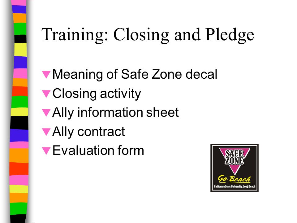 Training: Closing and Pledge  Meaning of Safe Zone decal  Closing activity  Ally information sheet  Ally contract  Evaluation form