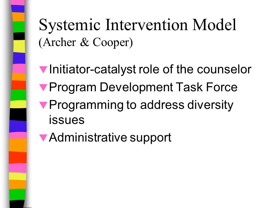 Systemic Intervention Model (Archer & Cooper)  Initiator-catalyst role of the counselor  Program Development Task Force  Programming to address diversity issues  Administrative support