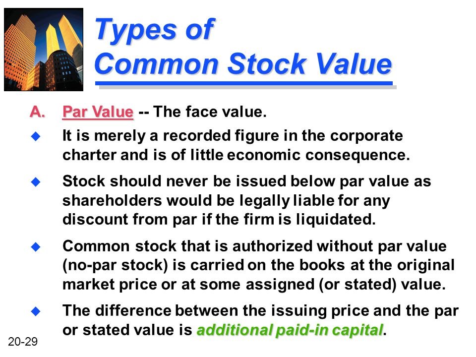 20-29 Types of Common Stock Value u It is merely a recorded figure in the corporate charter and is of little economic consequence.