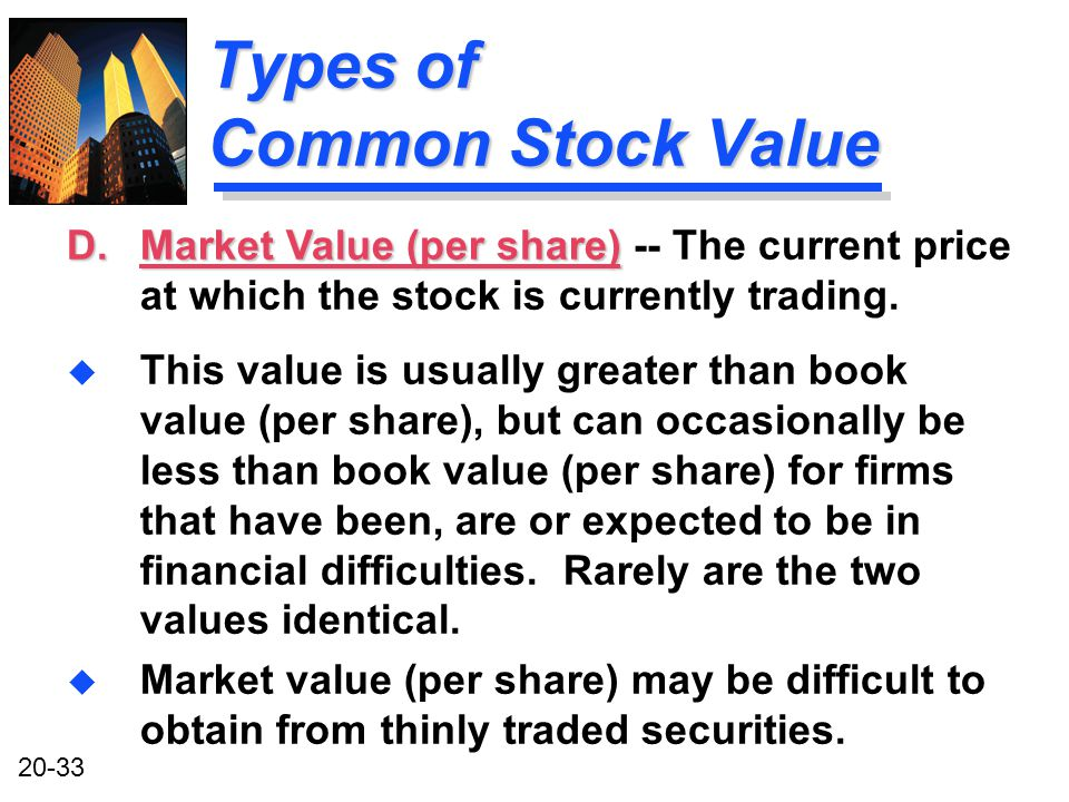 20-33 Types of Common Stock Value u This value is usually greater than book value (per share), but can occasionally be less than book value (per share) for firms that have been, are or expected to be in financial difficulties.