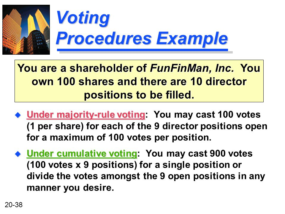 20-38 Voting Procedures Example u Under majority-rule voting u Under majority-rule voting: You may cast 100 votes (1 per share) for each of the 9 director positions open for a maximum of 100 votes per position.