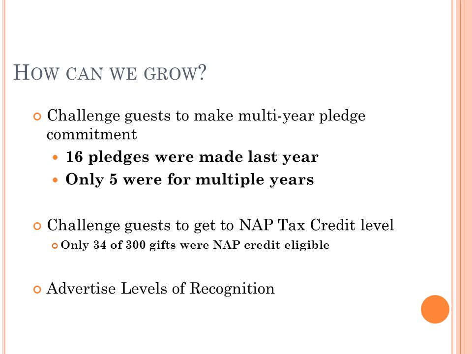 H OW CAN WE GROW ? Challenge guests to make multi-year pledge commitment 16 pledges were made last year Only 5 were for multiple years Challenge guest