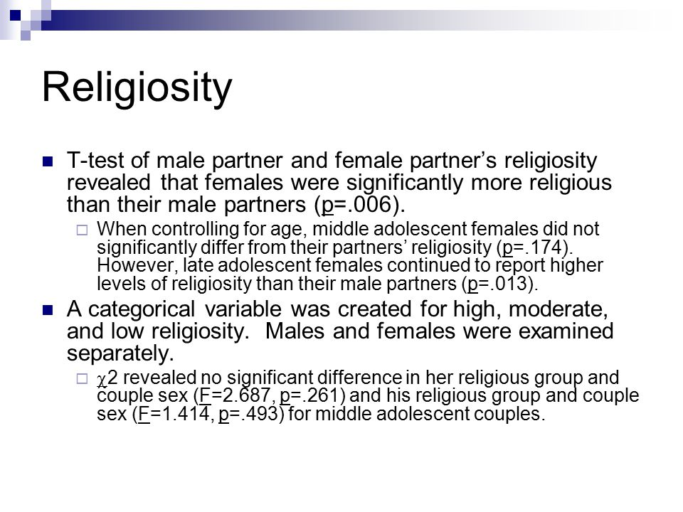 Religiosity T-test of male partner and female partner's religiosity revealed that females were significantly more religious than their male partners (p=.006).