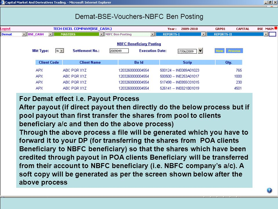 Demat-BSE-Vouchers-NBFC Ben Posting For Demat effect i.e.