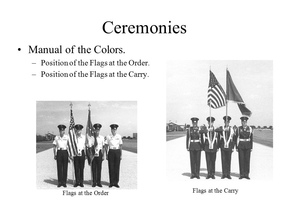 Ceremonies Manual of the Colors. –Position of the Flags at the Order.