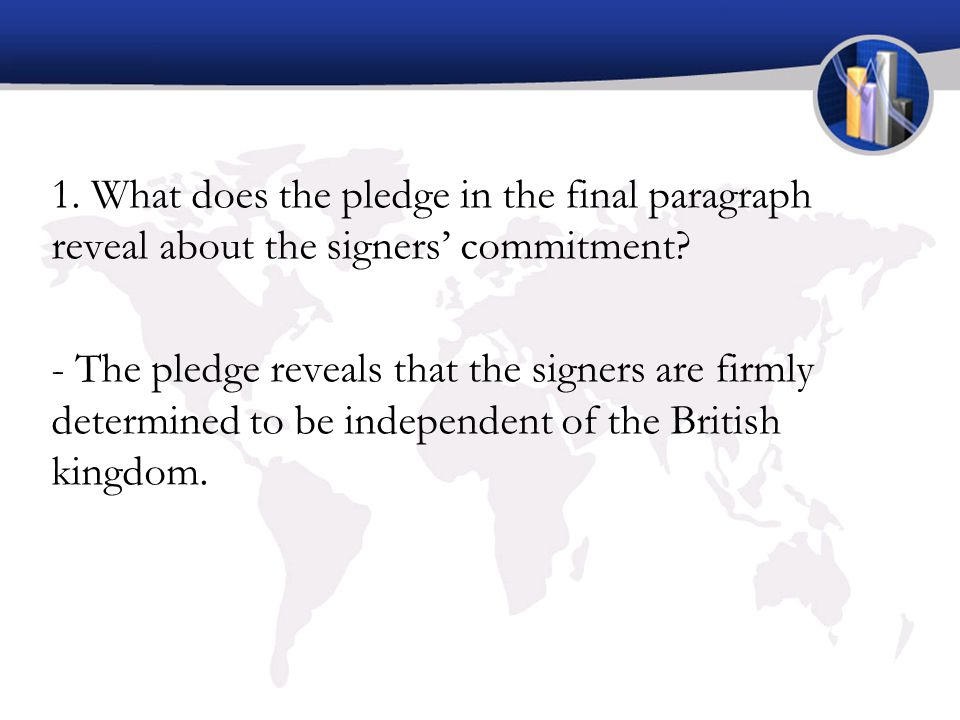 1. What does the pledge in the final paragraph reveal about the signers' commitment? - The pledge reveals that the signers are firmly determined to be