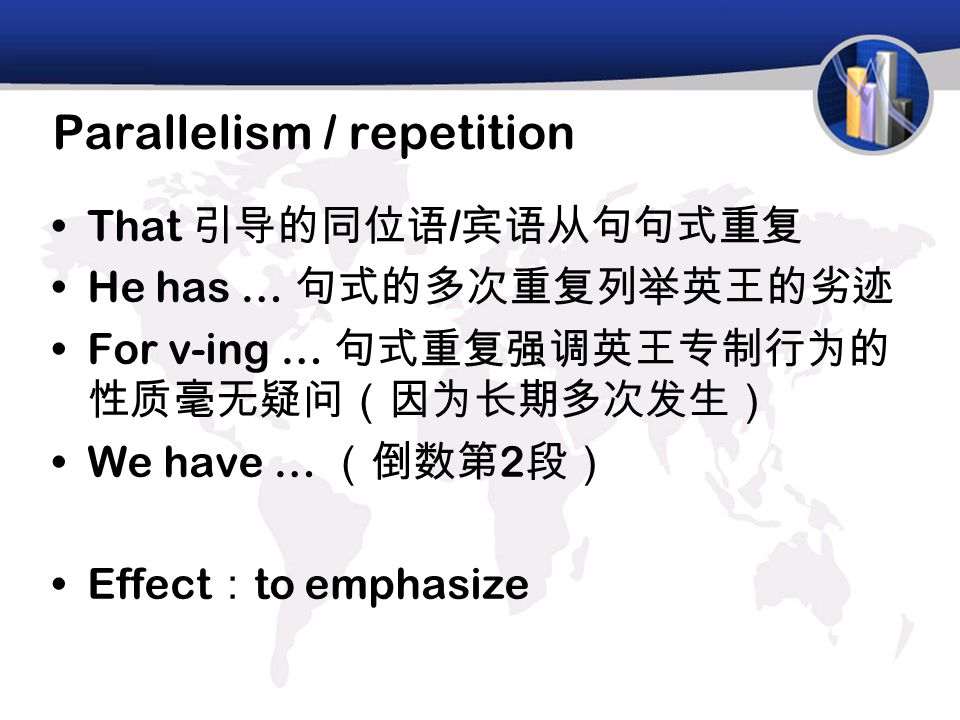 Parallelism / repetition That 引导的同位语 / 宾语从句句式重复 He has … 句式的多次重复列举英王的劣迹 For v-ing … 句式重复强调英王专制行为的 性质毫无疑问(因为长期多次发生) We have … (倒数第 2 段) Effect : to emp