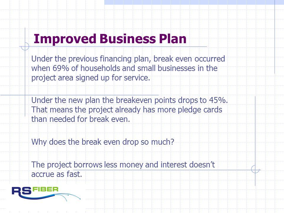 Improved Business Plan Under the previous financing plan, break even occurred when 69% of households and small businesses in the project area signed up for service.