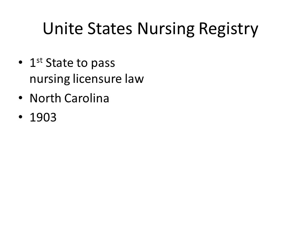 Unite States Nursing Registry 1 st State to pass nursing licensure law North Carolina 1903