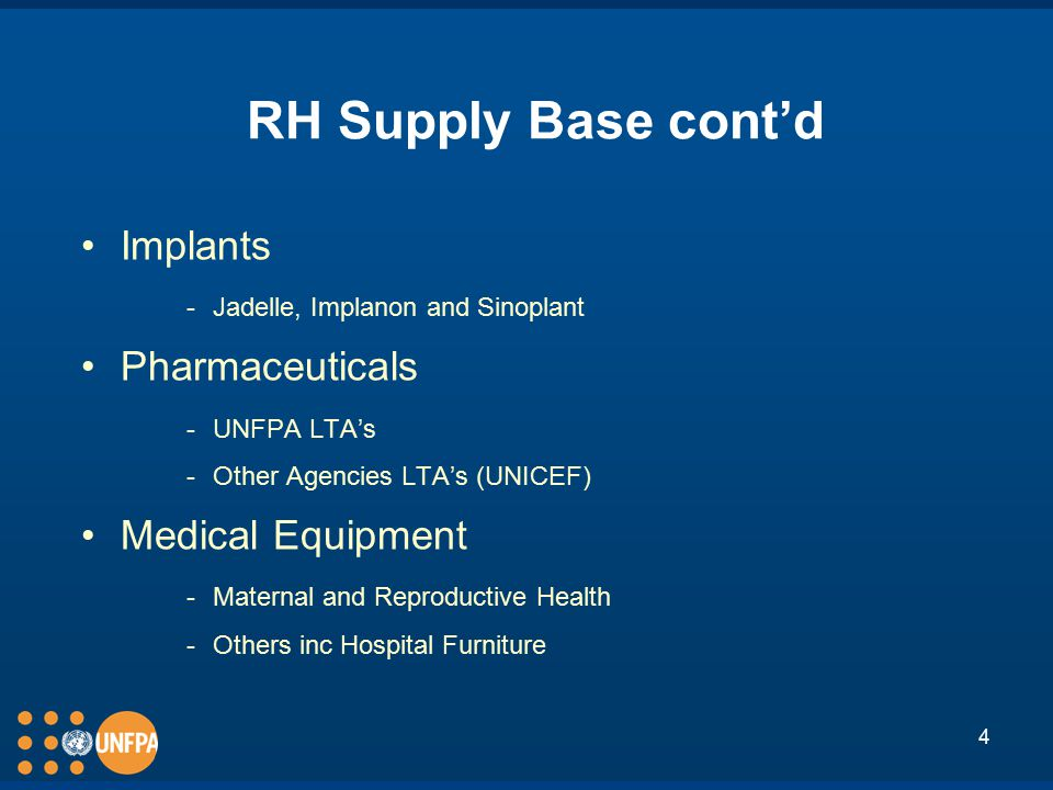 4 RH Supply Base cont'd Implants ­Jadelle, Implanon and Sinoplant Pharmaceuticals ­UNFPA LTA's ­Other Agencies LTA's (UNICEF) Medical Equipment ­Maternal and Reproductive Health ­Others inc Hospital Furniture