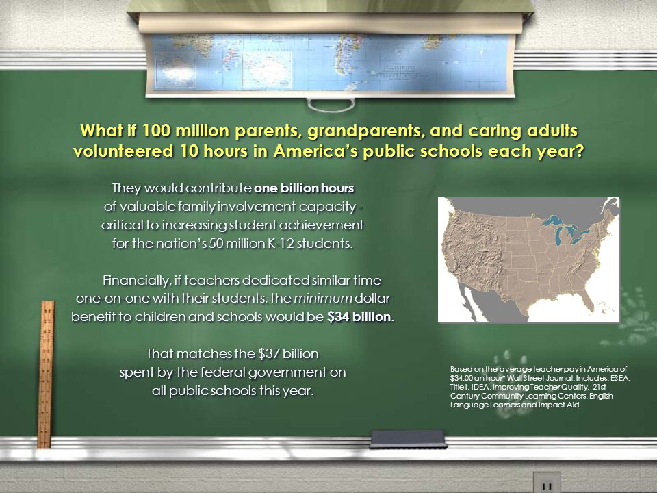 What if 100 million parents, grandparents, and caring adults volunteered 10 hours in America's public schools each year.