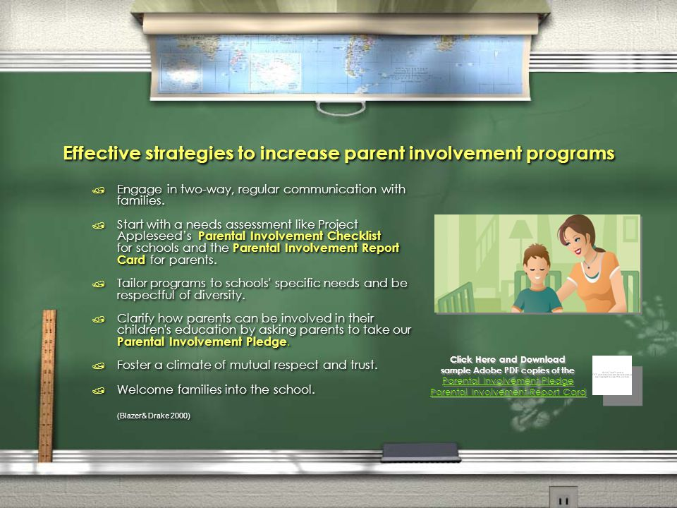Effective strategies to increase parent involvement programs / Engage in two-way, regular communication with families. / Start with a needs assessment