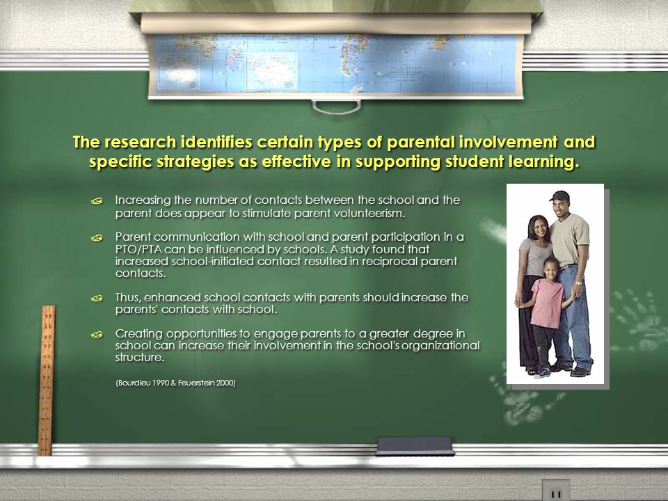 The research identifies certain types of parental involvement and specific strategies as effective in supporting student learning.