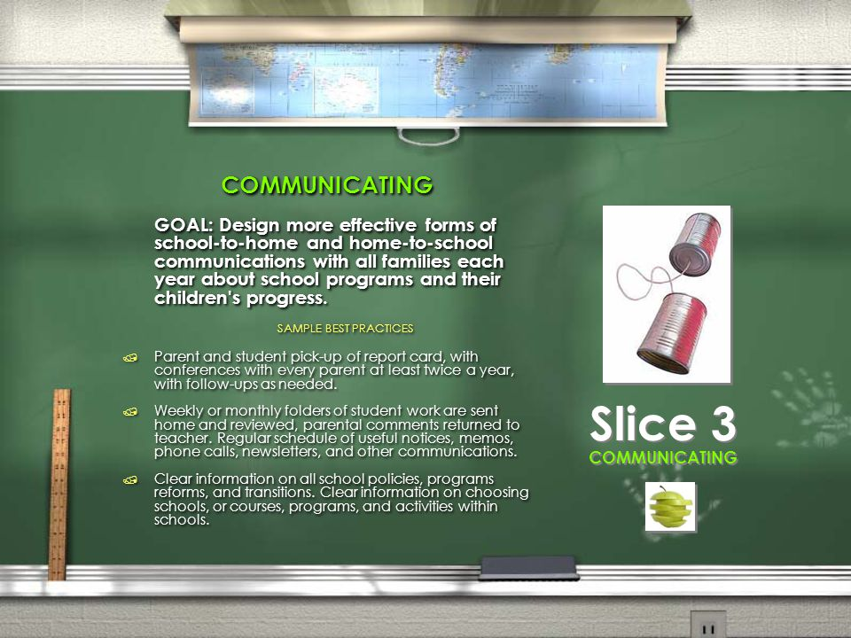 COMMUNICATING GOAL: Design more effective forms of school-to-home and home-to-school communications with all families each year about school programs