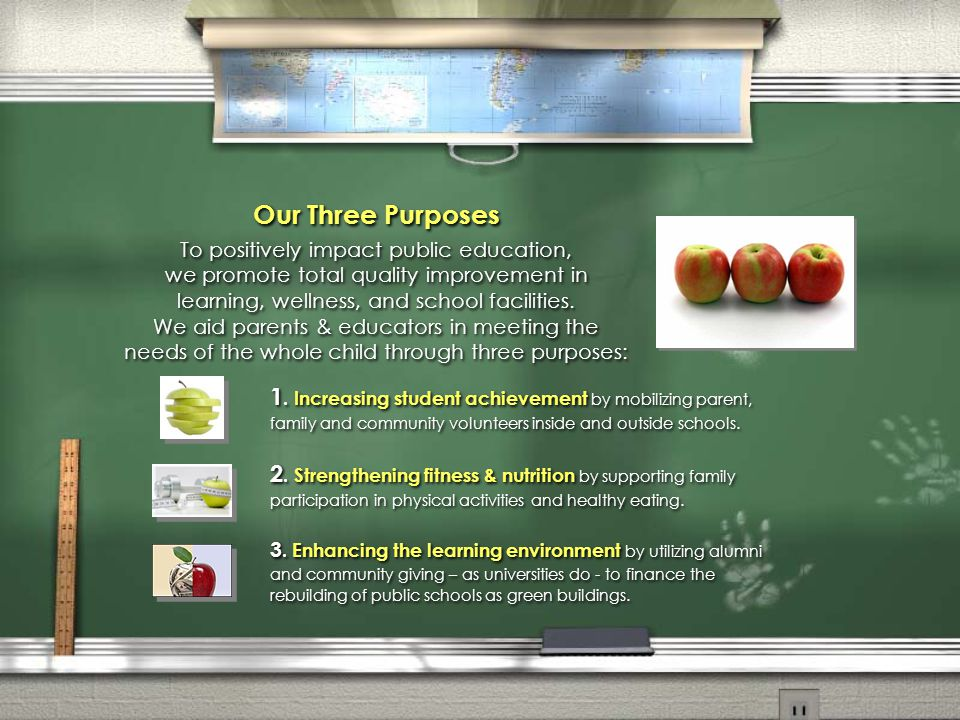 Our Three Purposes To positively impact public education, we promote total quality improvement in learning, wellness, and school facilities.