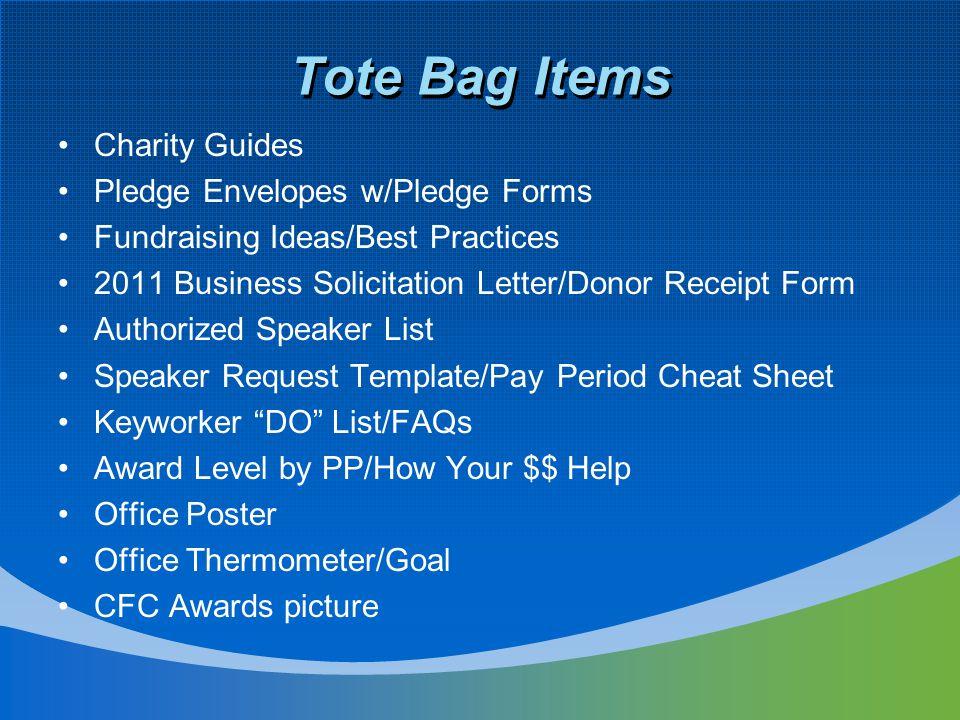 Tote Bag Items Charity Guides Pledge Envelopes w/Pledge Forms Fundraising Ideas/Best Practices 2011 Business Solicitation Letter/Donor Receipt Form Au