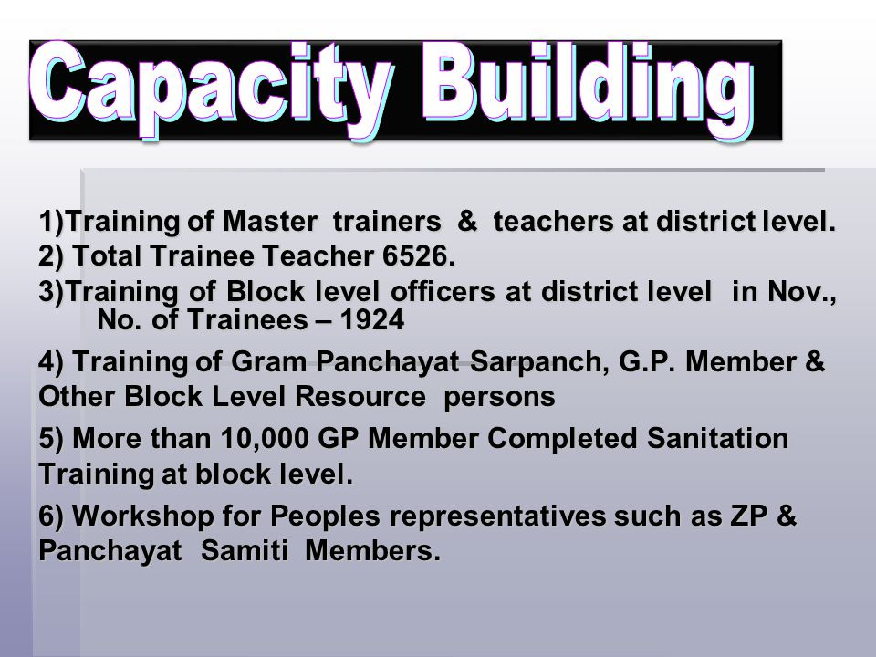1)Training of Master trainers & teachers at district level. 2) Total Trainee Teacher 6526. 3)Training of Block level officers at district level in Nov