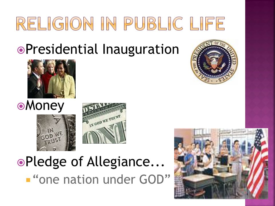 " Presidential Inauguration  Money  Pledge of Allegiance...  ""one nation under GOD"""