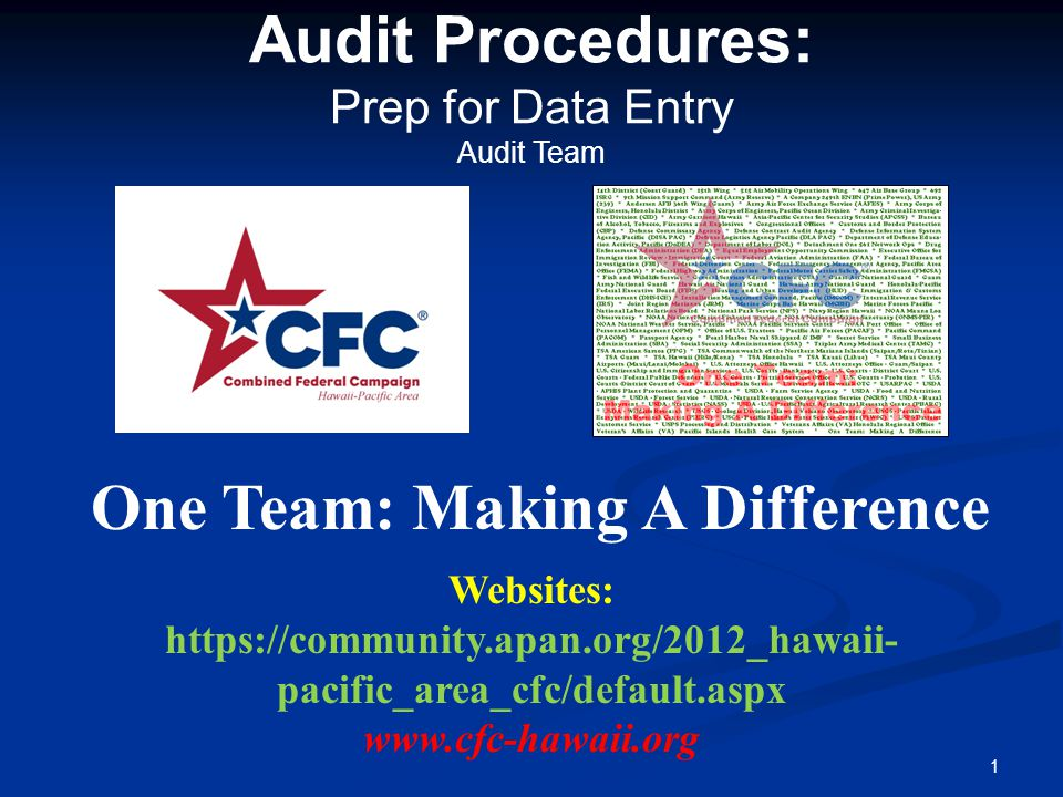 Audit Procedures: Prep for Data Entry Audit Team One Team: Making A Difference 1 Websites: https://community.apan.org/2012_hawaii- pacific_area_cfc/default.aspx www.cfc-hawaii.org