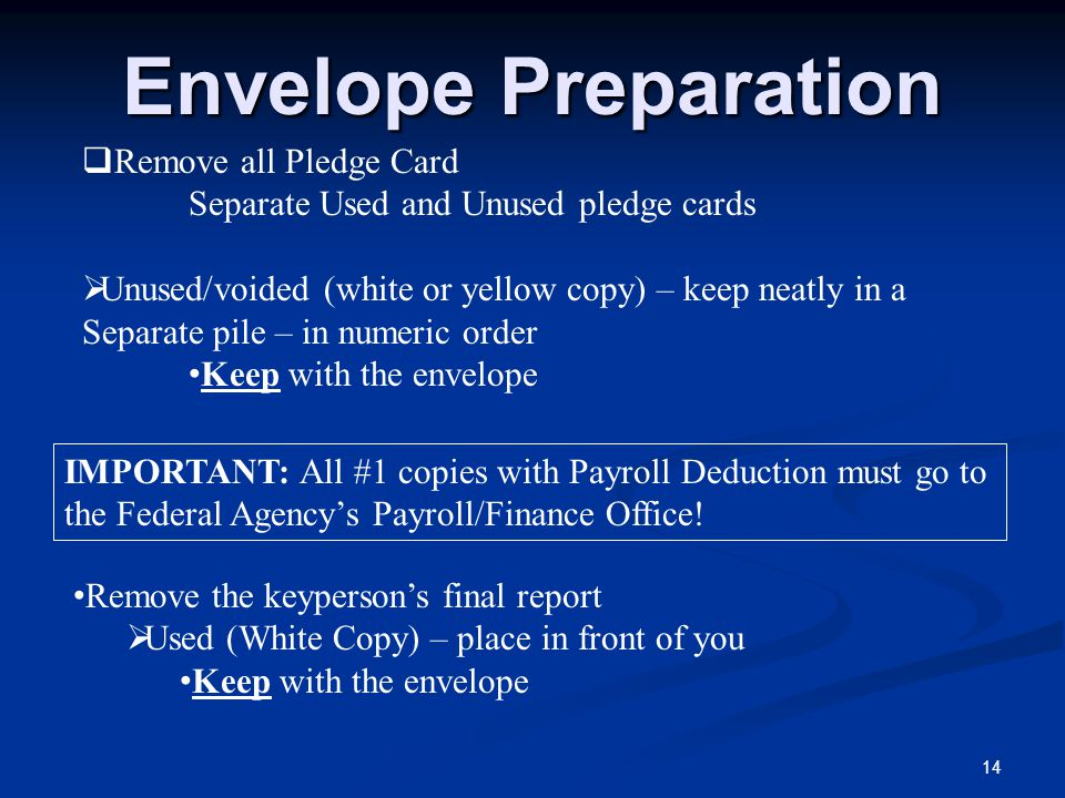 Envelope Preparation 14  Remove all Pledge Card Separate Used and Unused pledge cards  Unused/voided (white or yellow copy) – keep neatly in a Separ