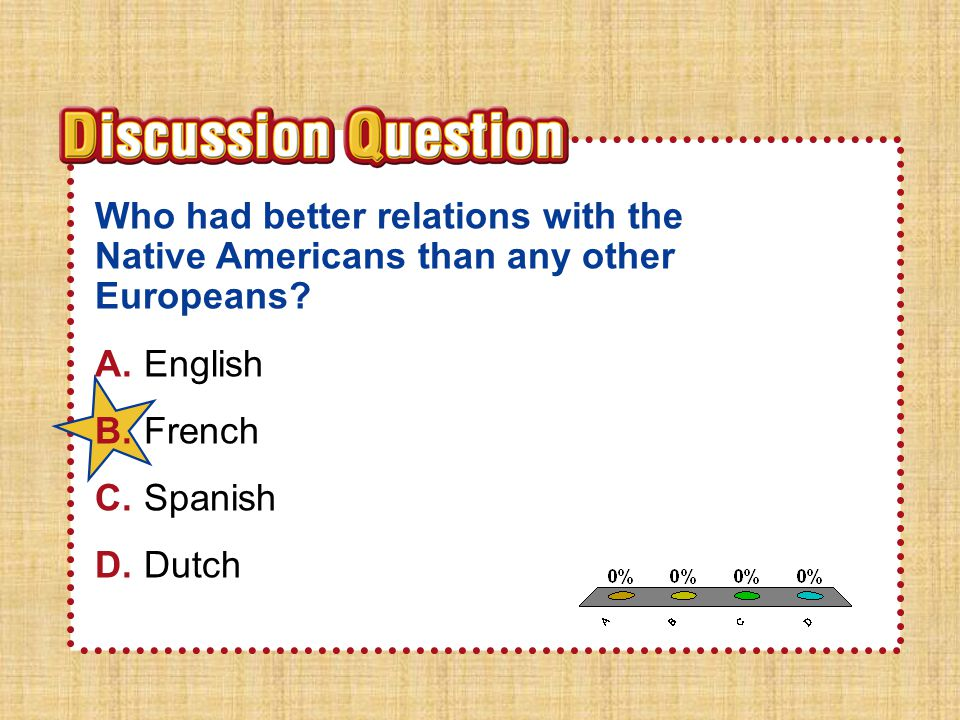 A.A B.B C.C D.D Section 4Section 4 Who had better relations with the Native Americans than any other Europeans? A.English B.French C.Spanish D.Dutch