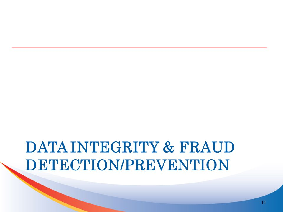 DATA INTEGRITY & FRAUD DETECTION/PREVENTION 11
