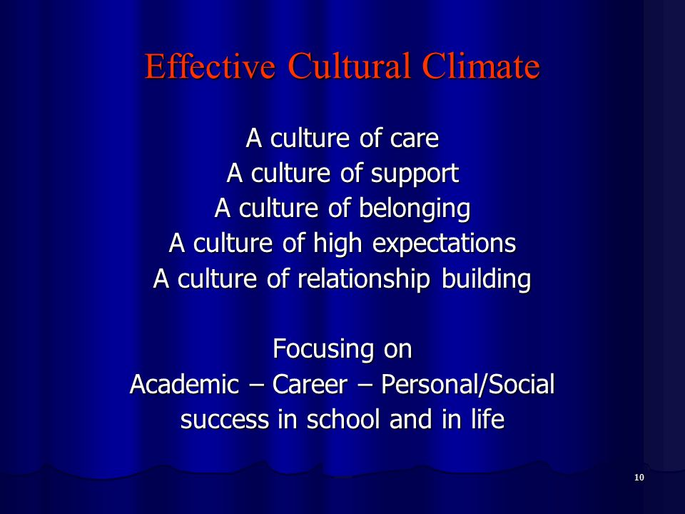 10 Effective Cultural Climate A culture of care A culture of support A culture of belonging A culture of high expectations A culture of relationship building Focusing on Academic – Career – Personal/Social success in school and in life