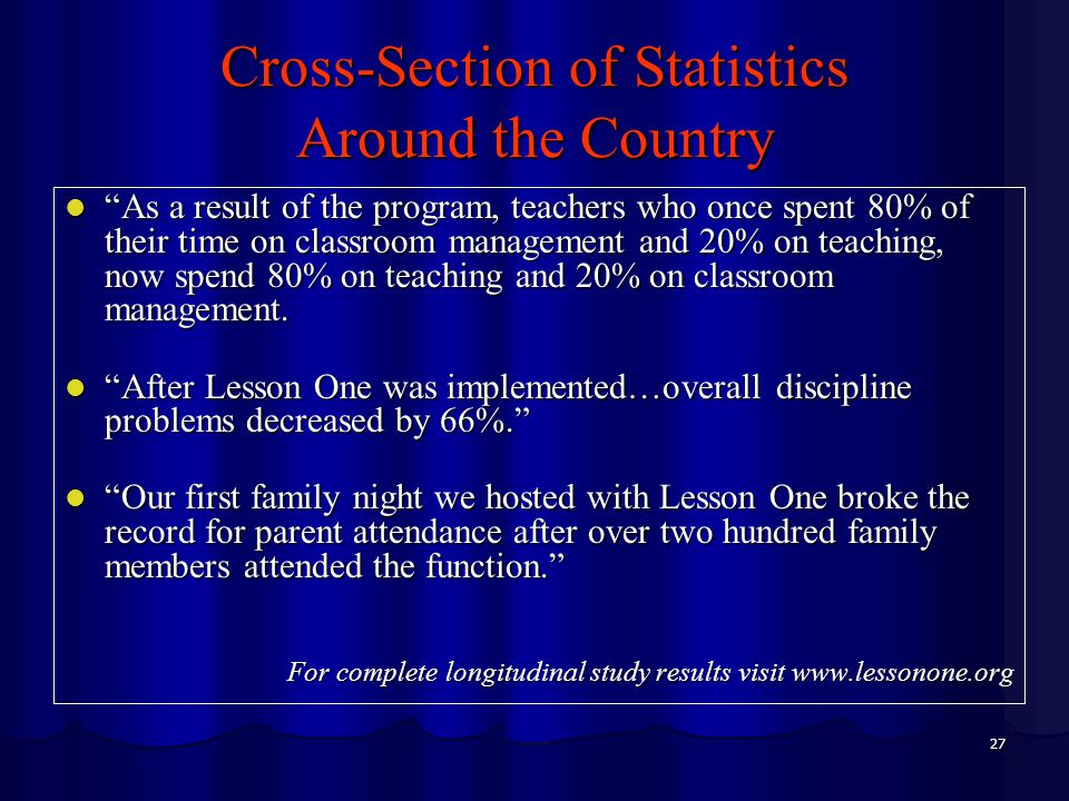"""27 Cross-Section of Statistics Around the Country """"As a result of the program, teachers who once spent 80% of their time on classroom management and 2"""