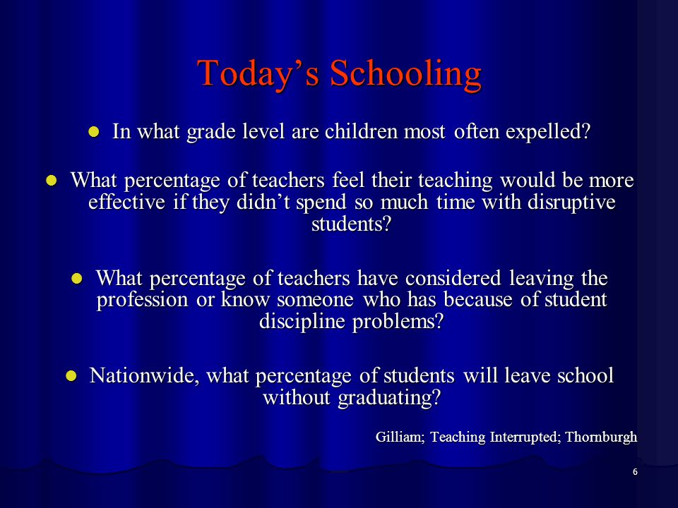 6 Today's Schooling In what grade level are children most often expelled? In what grade level are children most often expelled? What percentage of tea