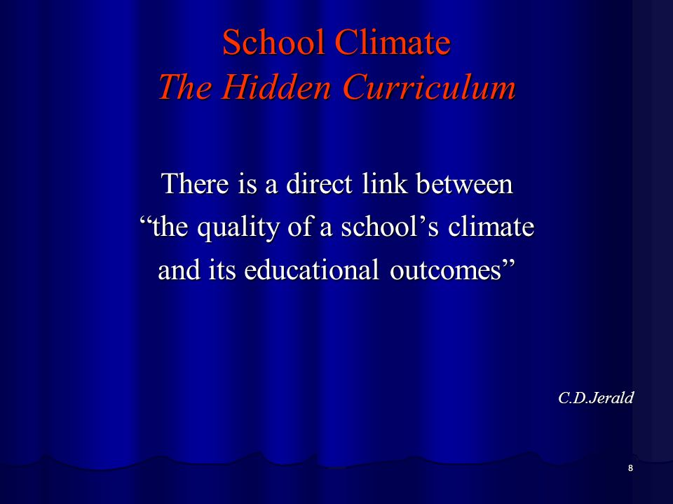 9 Transforming the School Culture Slow down – Systemic Programs Building a strong school culture takes time and a comprehensive curriculum Develop relational trust Requiring daily social exchanges with everyone Provide consistent norms and values Focusing attention on what is important and valued