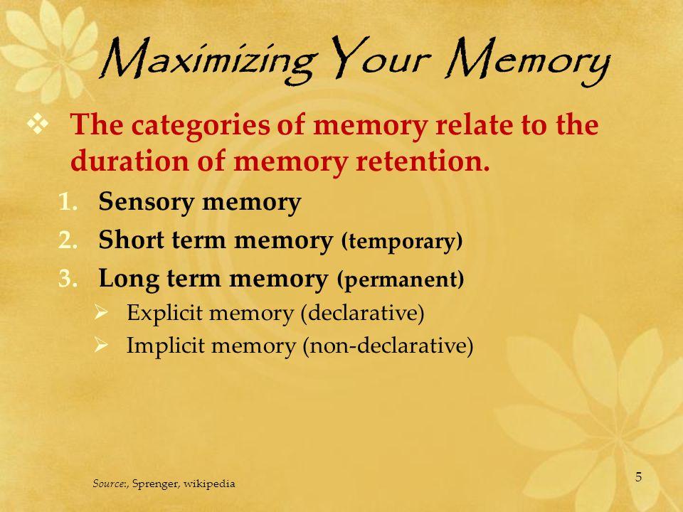 Maximizing Your Memory 1.Sensory Memory Information enters our brain through our senses.