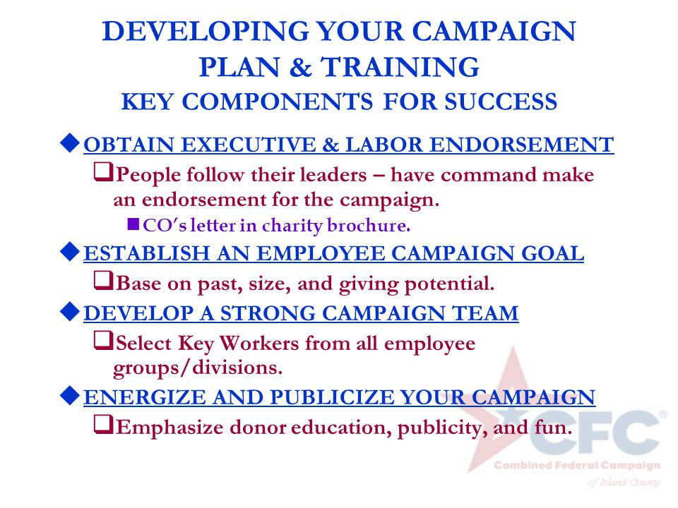 DEVELOPING YOUR CAMPAIGN PLAN & TRAINING KEY COMPONENTS FOR SUCCESS u OBTAIN EXECUTIVE & LABOR ENDORSEMENT q People follow their leaders – have comman