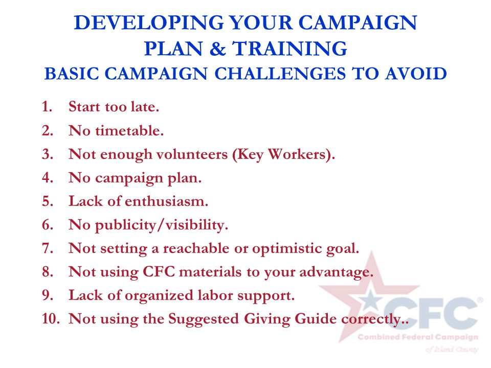 DEVELOPING YOUR CAMPAIGN PLAN & TRAINING BASIC CAMPAIGN CHALLENGES TO AVOID 1. Start too late. 2. No timetable. 3. Not enough volunteers (Key Workers)