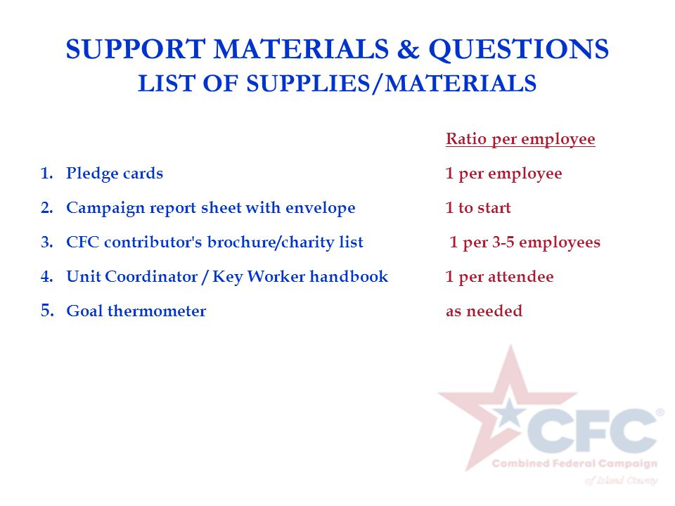 SUPPORT MATERIALS & QUESTIONS LIST OF SUPPLIES/MATERIALS Ratio per employee 1.Pledge cards 1 per employee 2.Campaign report sheet with envelope1 to st